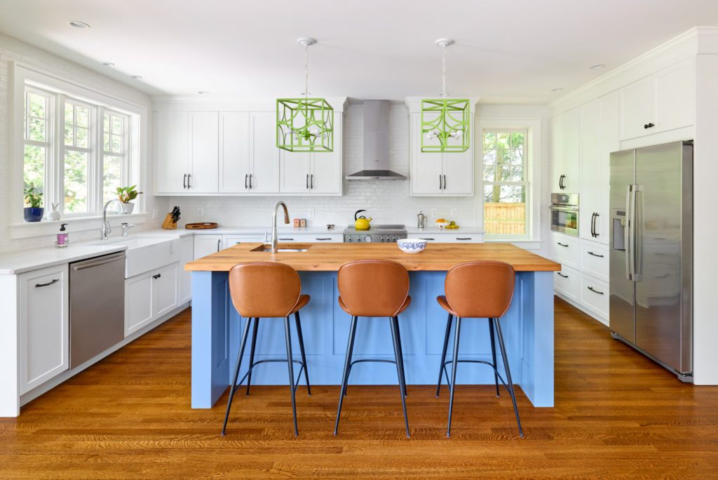 White Kitchen with Brightly Colored Accents